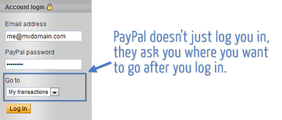 PayPal's streamlined log-in