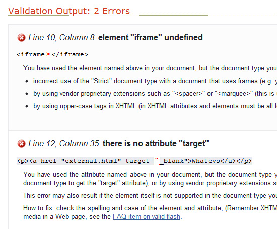 Two validation errors with deprecated elements in XHTML